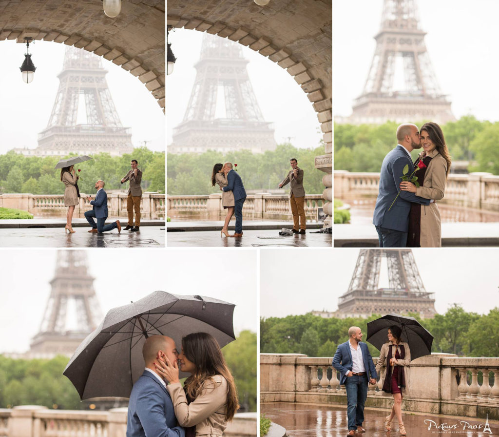 Paris proposal in Rain Pictours Paris